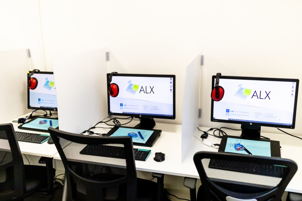 Seats and computers in the ALX Test Centre